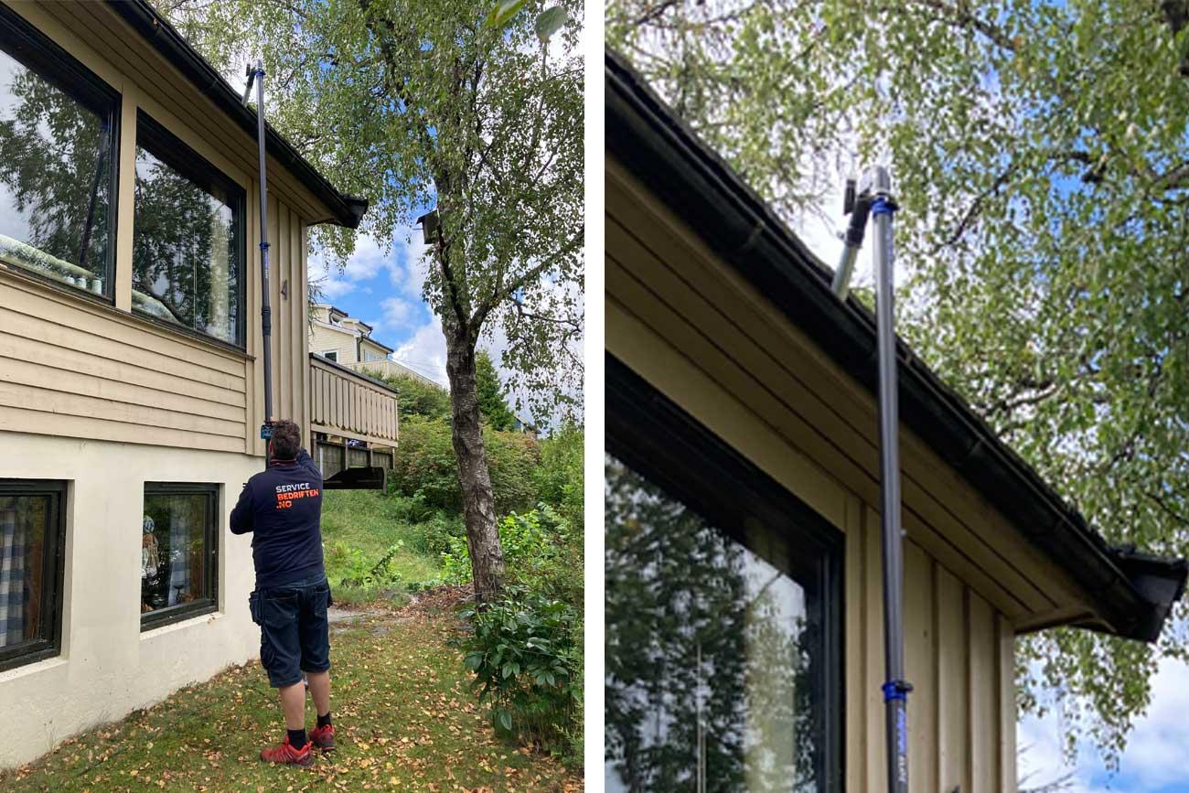 Rens av takrenner med vakumstøvsuger i Lillestrøm - Servicebedriften